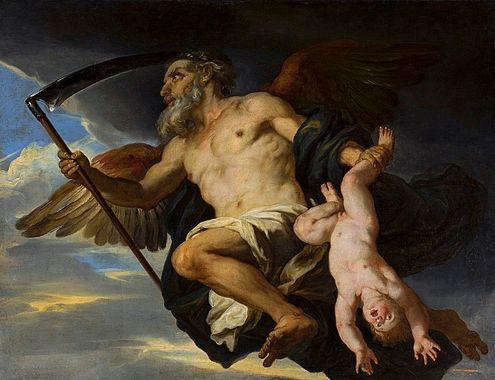 Chronos and His Child by Giovanni Francesco Romanelli
